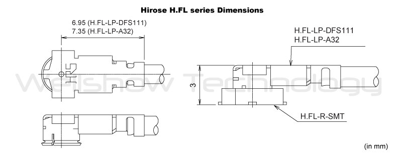 Hirose H.FL Dimension