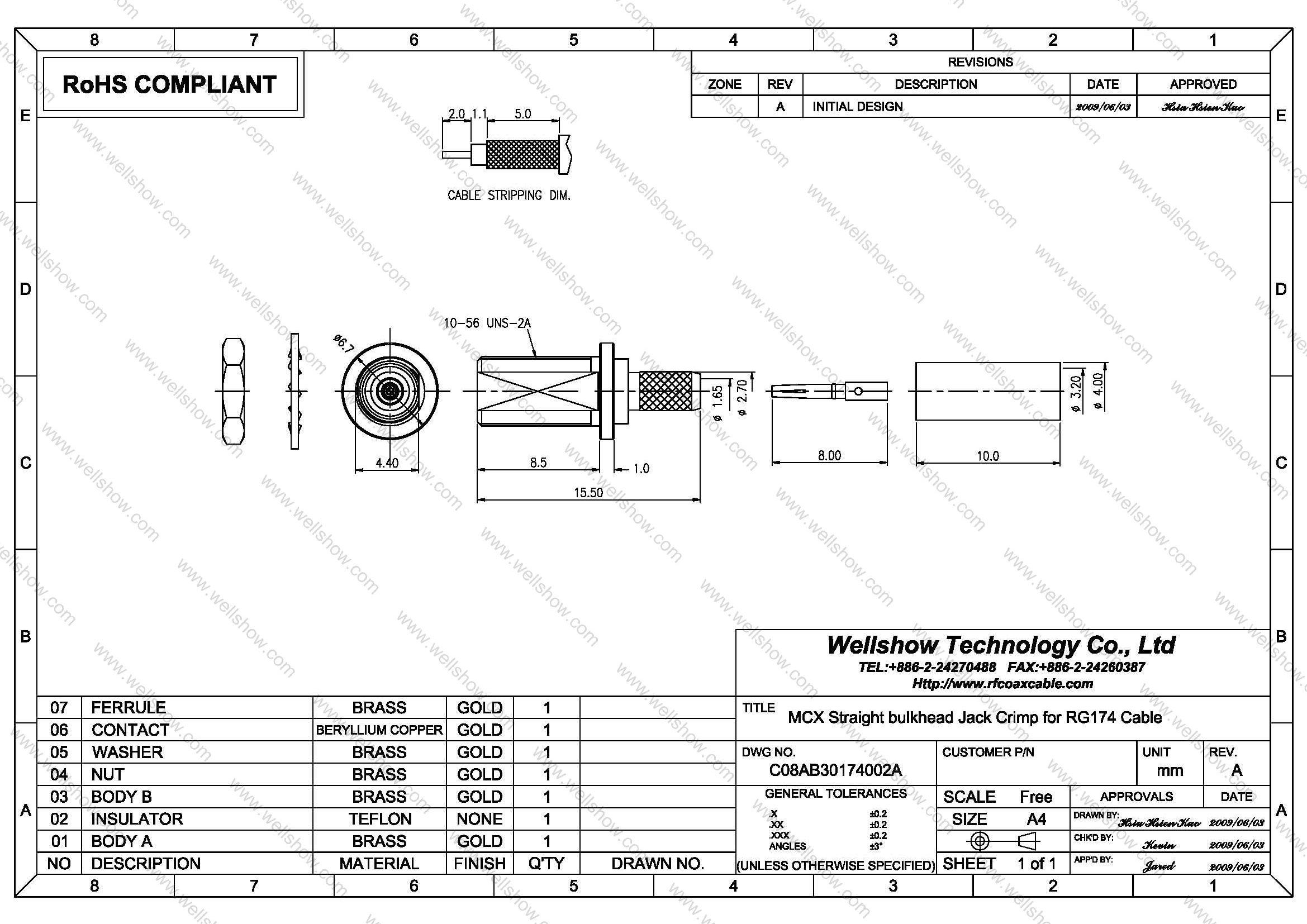 Mcx Connector Jack Straight Bulkhead Crimp For Lmr100