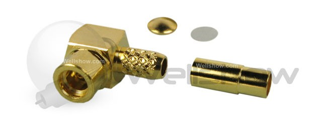 MMCX connector jack right angle crimp for RG174, RG316