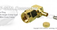 RP SMA connector male right angle crimp for RG178, 1.13mm coax cable