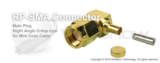 RP SMA connector male right angle crimp for 1.32mm, 1.37mm coax cable