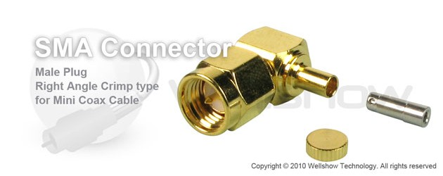 SMA connector male right angle crimp for RG178, 1.13mm coax cable
