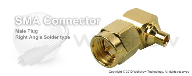 SMA connector male right angle solder for RG405 semi rigid, semi flex cable