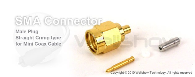 SMA connector male straight crimp for 1.32mm, 1.37mm coax cable