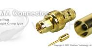 SMA connector male straight crimp for LMR 400, RG8/U coax cable