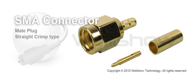 SMA connector male straight crimp for RG188, LMR100 coax cable