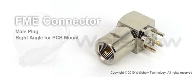 FME connector plug right angle for PCB mount