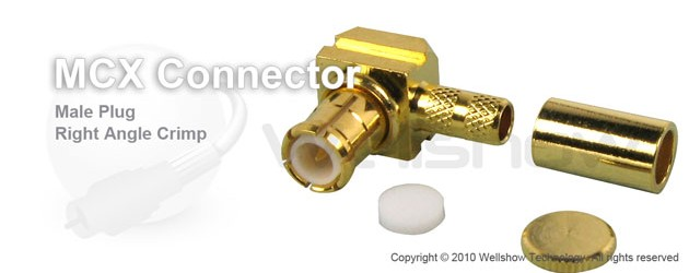 MCX connector plug right angle crimp for LMR195, RG188, LMR100