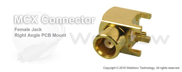 MCX connector jack right angle for PCB mount