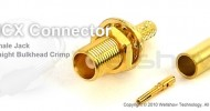 MCX connector jack straight bulkhead crimp for RG174, RG316 coax cable