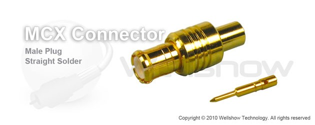 MCX connector plug straight solder for RG402, RG405 semi rigid cable and semi flex cable