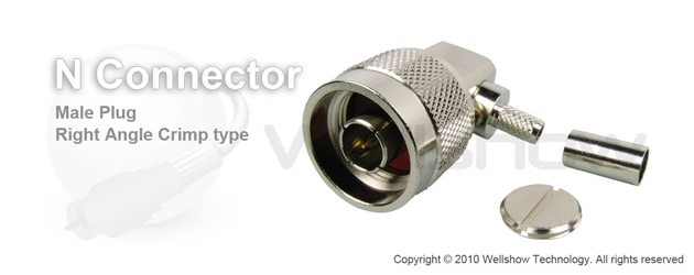 N connector plug right angle crimp for RG214 coax cable