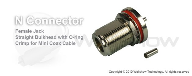 N connector jack bulkhead w/O-ring for 1.13mm, RG178, 0.81mm coax cable