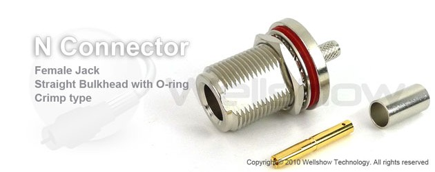 N connector jack bulkhead w/O-ring crimp for RG303, RG141 coax cable