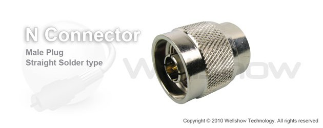 "N connector plug straight solder for .141"", RG402 semi cable"