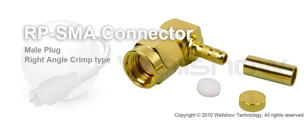 RP SMA Connector male right angle crimp for RG223 coax cable