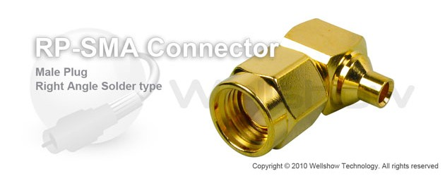 RP SMA connector male right angle solder for RG402 semi rigid, semi flex cable