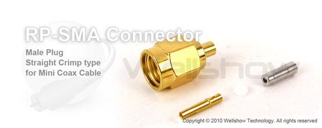 RP SMA connector male straight crimp for 1.32mm, 1.37mm coax cable