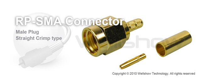 RP SMA connector male straight crimp for RG142, RG400, RG55 coax cable