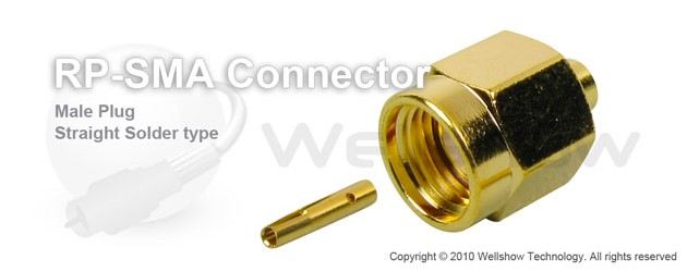 RP SMA connector male straight solder for RG402 semi rigid, semi flex cable