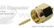 SMA connector male straight solder for RG402 semi rigid, semi flex cable