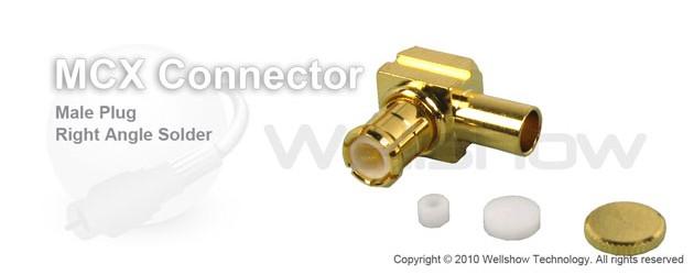 MCX connector plug right angle solder for RG405 semi rigid cable