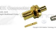 MCX connector jack straight bulkhead crimp for 0.81mm, 1.32mm, 1.48mm, RG196