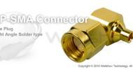 RP SMA connector male right angle solder for RG405 semi rigid, semi flex cable